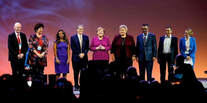 Angela Merkel, Erna Solberg, Bill Gates, Tedros Tedros Adhanom Gebreyesus and others at Grand Challenges, 2018