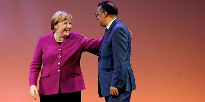 Angela Merkel and Dr Tedros Adhanom Ghebreyesus, WHO