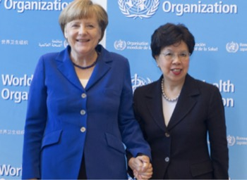 Angela Merkel and Margaret Chan