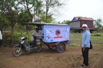 Tuk Tuk used to inform villagers about the project