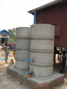 Rainwater harvesting tanks built by local craftsmen