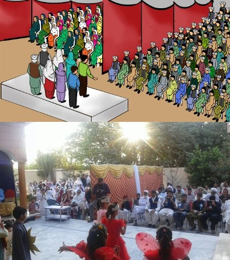 Drawing of a public meeting from facilitator manuals / A public meeting in Haripur