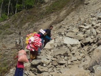 Reaching damaged mountainous areas can take days