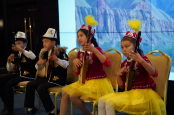 Kyrgyz children singing at the start of the conference
