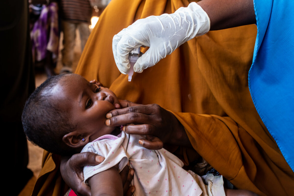 A child is vaccinated as part of national polio and measles vaccination campaign in Mogadishu, Somalia on Tuesday 01 September 2020