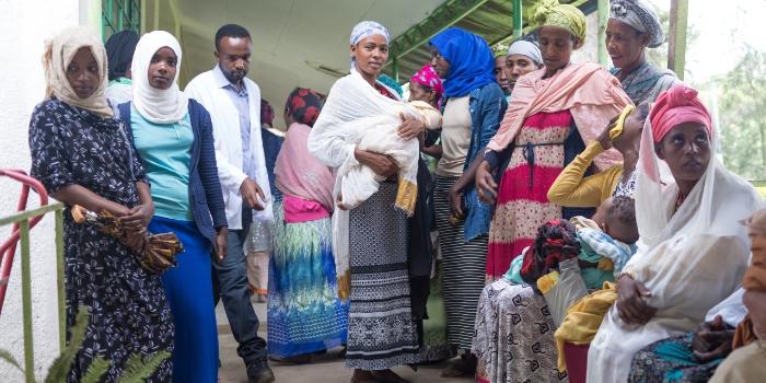 Women waiting for cancer screening in Butajira