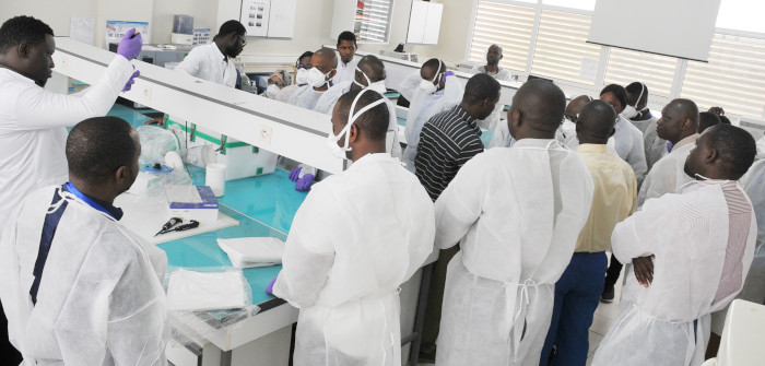 Participants taking part on a workshop on COVID19 laboratory diagnosis with the Institut Pasteur de Dakar in February 2020