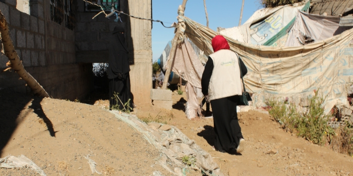Yamaan staff visit women taking part in the voucher programme living in remote areas of Lahj governorate, Yemen.