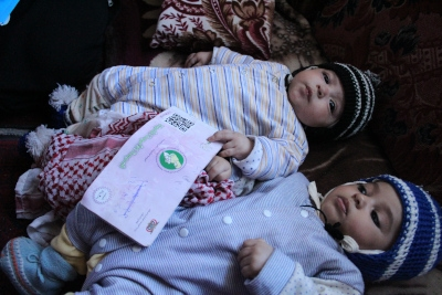 Healthy twins born with the help of the voucher programme in Ibb governorate, Yemen
