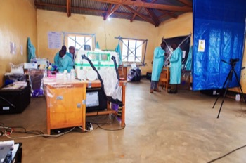 One of the mobile laboratories was set up in a school near the health dispensary in Namanga, Tanzania