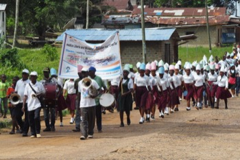 Marching to Career Day in Sinoe County