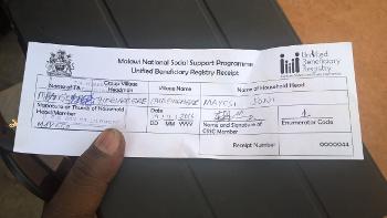 Household receipt for UBR registration