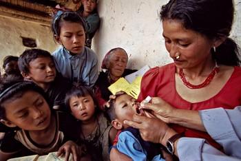 Child receiving polio vaccination