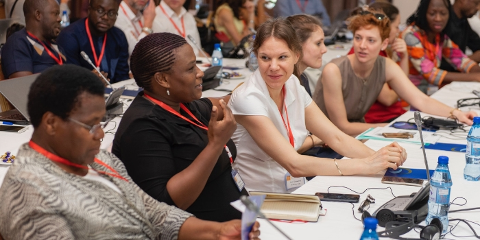 Conference participants in discussion
