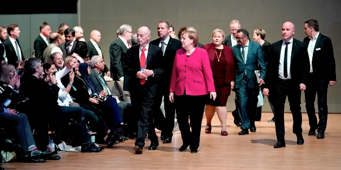 Chancellor Angela Merkel, Detlev Ganten, Dr Tedros and Emma Solberg at Joint Keynote Session