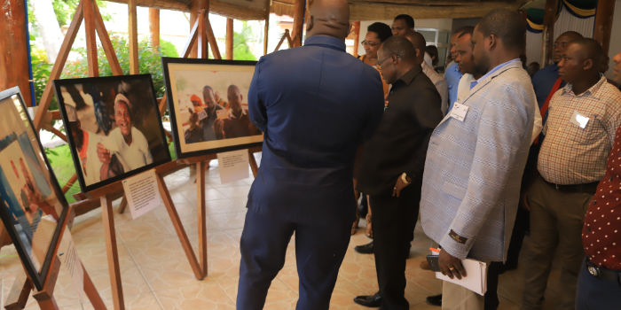 Officials from Lindi region during a photo exhibition on the Community Health Fund programme