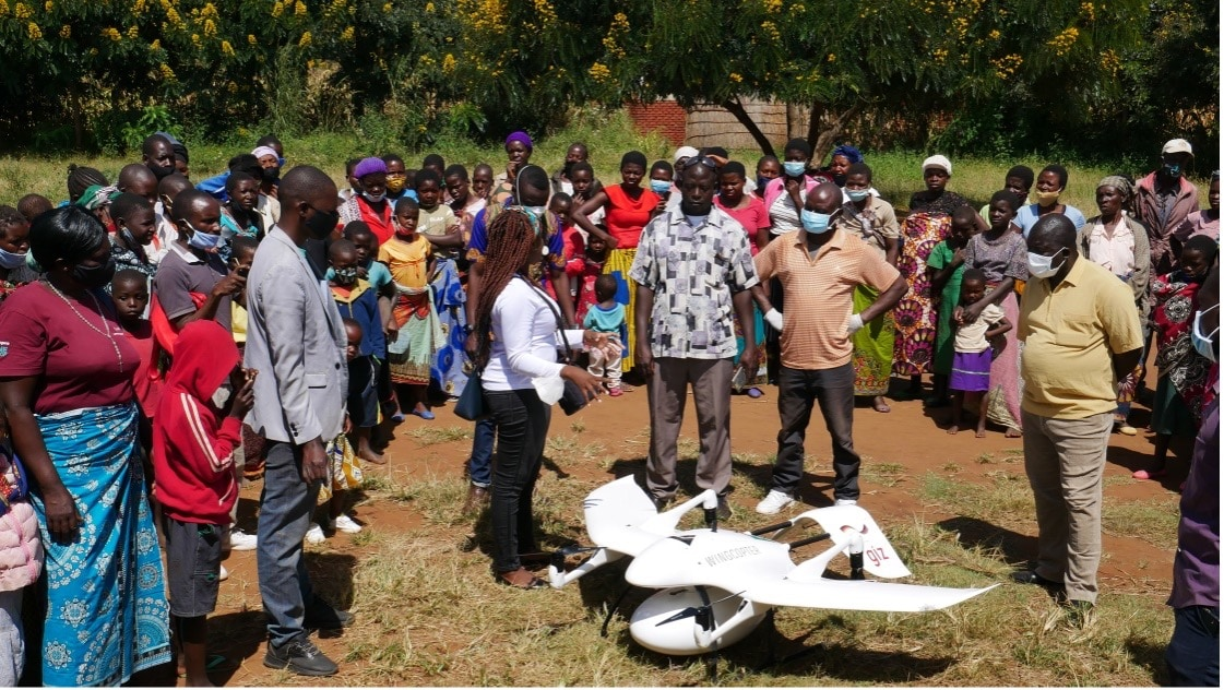 Community sensitisation meetings enable people to touch the drones, ask questions and see how they work